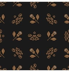 Seamless pattern art deco elegant gold roses and vector