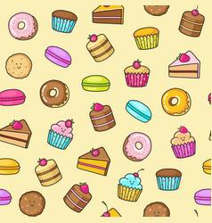 kawaii seamless background of sweet and dessert vector image
