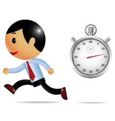 Running businessman and stopwatch vector