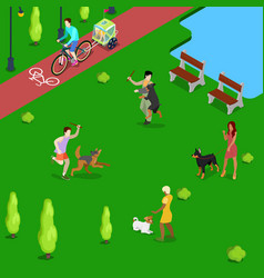 Isometric people training dogs in the park vector