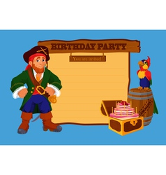 Birthday party invitation card with pirate vector