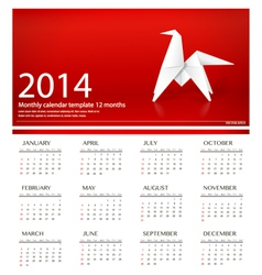 2014 calendar origami paper horse design vector image