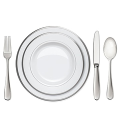 Empty plates with silver rims spoon fork knife vector