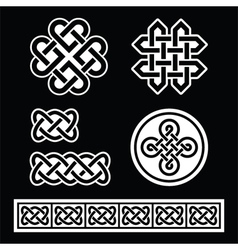 Celtic irish patterns and braids on black vector