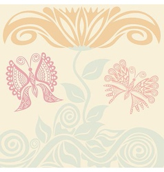 Beautiful flower and butterflies vector