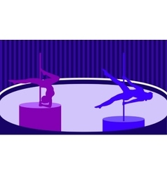 Pole dancers in pole dance studio flat style vector