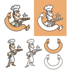 Cook is holding pizza vector image
