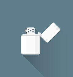 Flat chromed petrol lighter icon vector