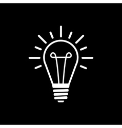 The lightbulb icon illumination symbol flat vector
