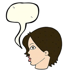 Cartoon staring woman with speech bubble vector
