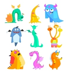 Cute monsters and aliens colourful set vector
