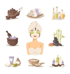 Spa beauty body care icons and woman in vector