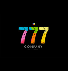 777 number grunge color rainbow numeral digit logo vector