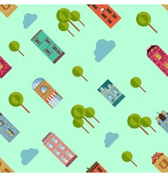 Bright urban houses and trees background vector image