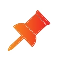 Pin push sign orange applique isolated vector