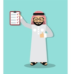 Arabic businessman executed business plan vector image vector image