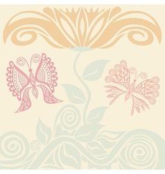 Beautiful flower and butterflies vector