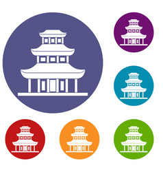 buddhist temple icons set vector image vector image