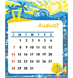 calendar august vector image vector image