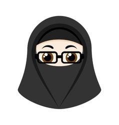 Cartoon girl with niqab vector
