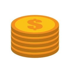 Cartoon golden coin pile dollar vector
