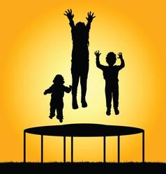 children jump silhouette vector image