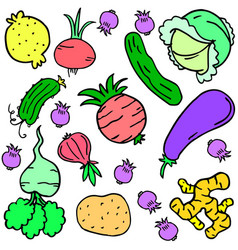 Doodle of vegetable various colorful set vector