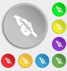 Feather icon sign Symbol on eight flat buttons vector image
