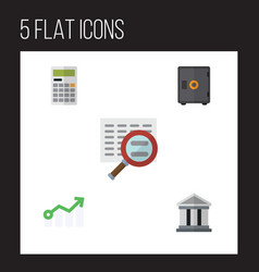 flat icon incoming set of bank growth scan and vector image