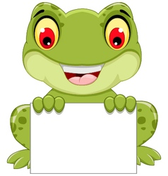 funny frog cartoon sitting holding a blank sign vector image