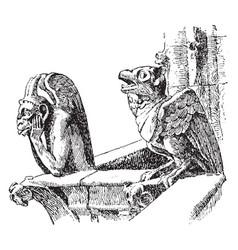 Gargoyles on notre dame paris vintage engraving vector