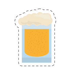 Glass cold beer image cut line vector