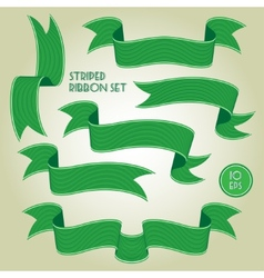 Green banners or ribbons set vector image vector image
