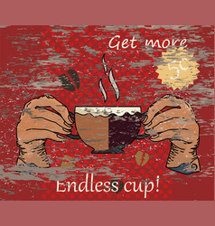 Hand holding a cup coffee vector