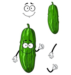 Happy green cartoon cucumber vector image