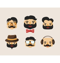 Hipster characters pack with facial emotions vector