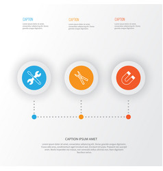 instrument icons set collection of attraction vector image