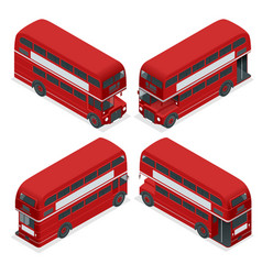 Isometric highly detailed red bus isolated double vector