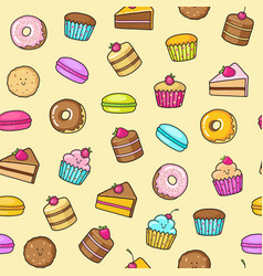 Kawaii seamless background of sweet and dessert vector