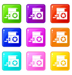Music box icons 9 set vector