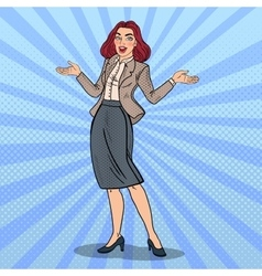 Pop Art Excited Happy Business Woman vector image vector image