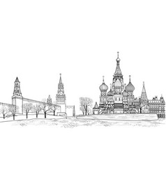 red square view moscow russia travel russia vector image