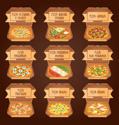 Set of italian pizza in boxes 9 item different vector