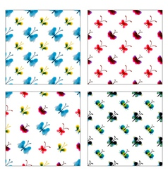 Set of seamless patterns of watercolor butterflies vector image vector image