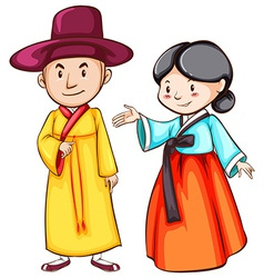 Simple drawing of two Asian people vector image vector image