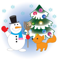 snowman and fox meet christmas vector image