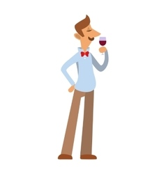 Sommelier in suite looking at red wine in glass vector image vector image