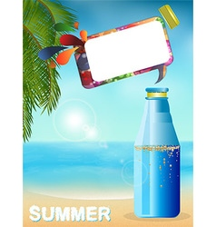 Summer bottle background with speech bubble vector