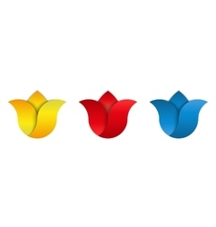 Tulip logo set flowers blue red yellow bud vector