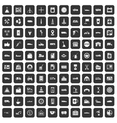 100 gas station icons set black vector